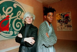 Andy Warhol and Jean-Michel Basquiat at their 1985 collaborative exhibit