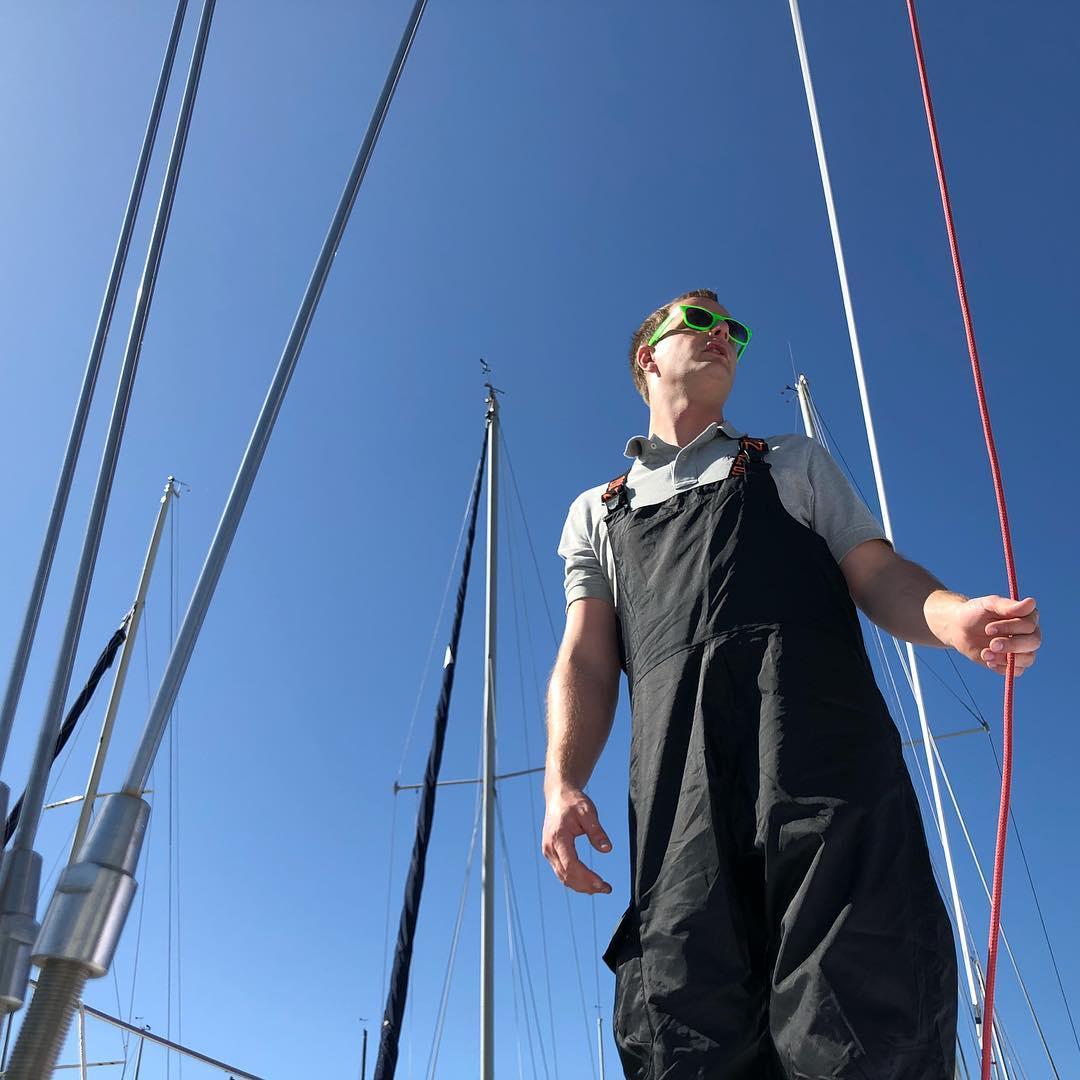 Bowman Chad prepping Stewball for day 1 of BYC Wheeler regatta