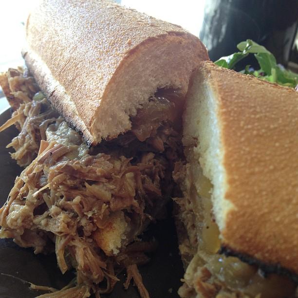 Quite tasty adobo pork sandwich here