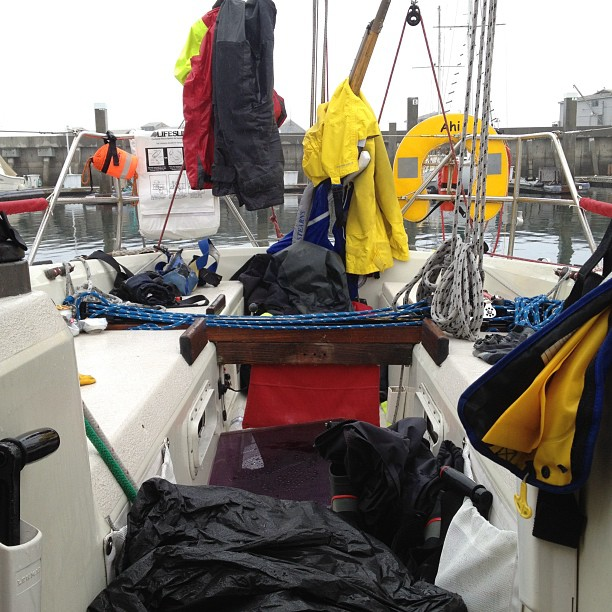 Raining in Monterey - finished Spinnaker Cup at 3:30am yay