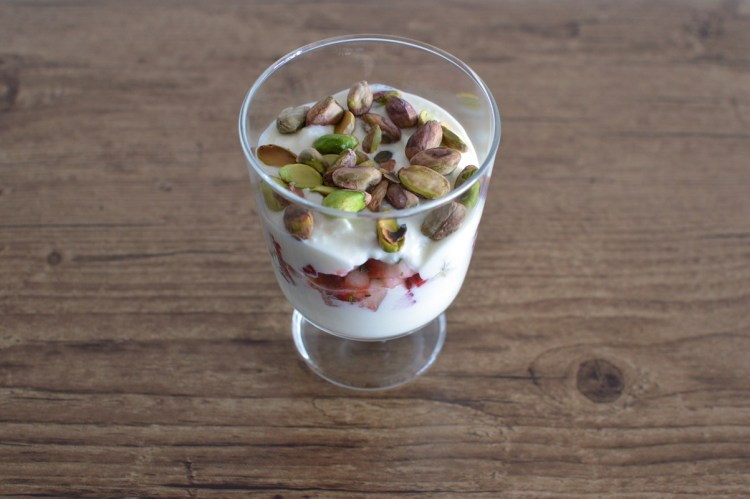 Strawberry, rosemary and pistachio parfait