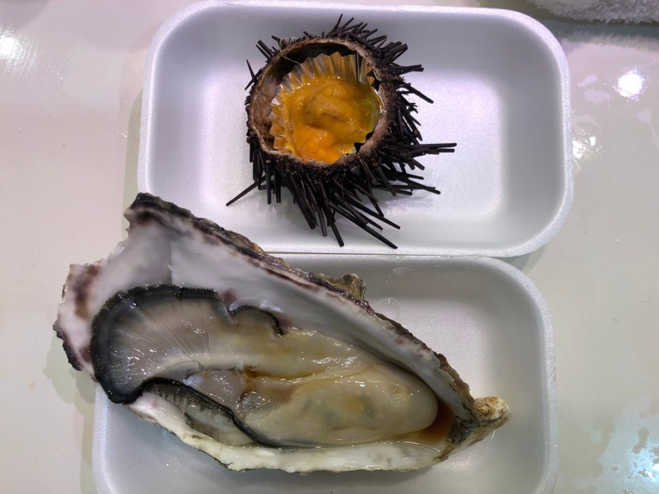 Oyster and sea urchin