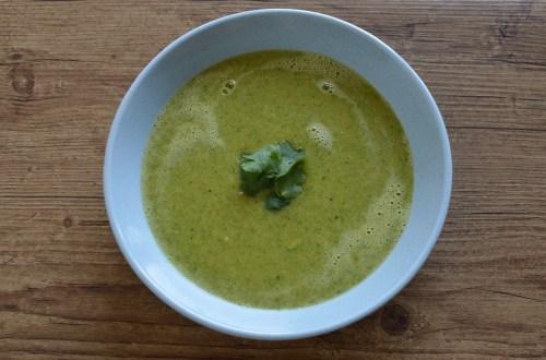 Vegan zucchini soup with corn and coriander