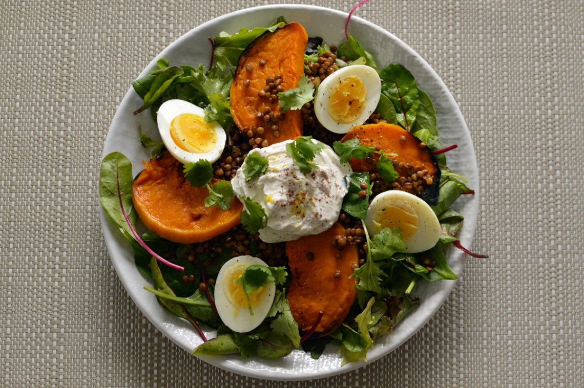 Roast pumpkin and lentil salad with lemon and sumac labneh