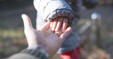 mano de un adulto y un bebe unidas
