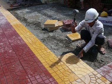 thi công gạch lát vỉa hè terrazzo