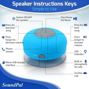 Bluetooth Shower Speaker - SoundPal Water Resistant Wireless and Hands-free Speaker Phone with Suction Cup