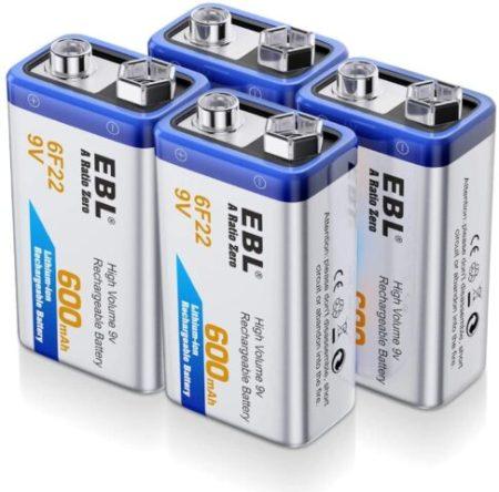 EBL 9 Volt Li-ion Rechargeable 9V Batteries .