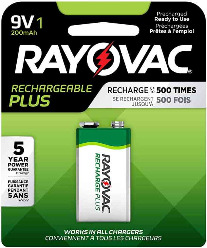 Rayovac Rechargeable 9V Batteries