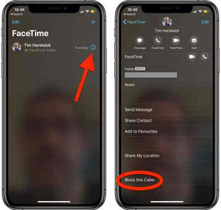Block Contact in facetime/Video call on apple iPhone
