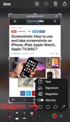 instant markup to edit screenshots