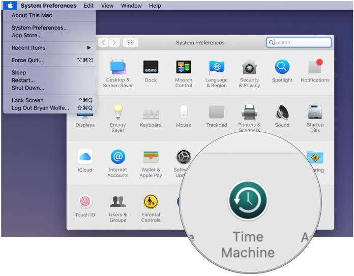Restore from a Time Machine backup