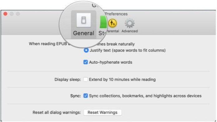 Enable sync settings for the Books app