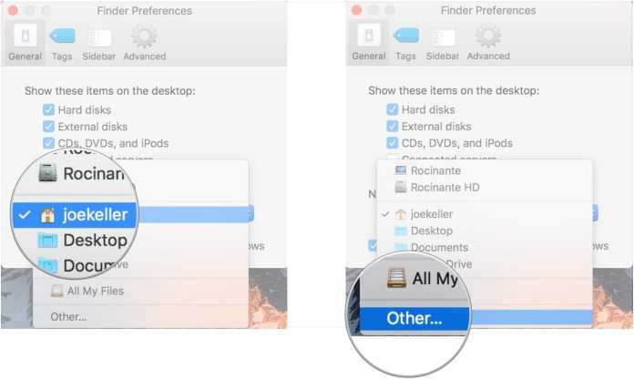 Set a new Finder window's default section-  use Finder on your Mac