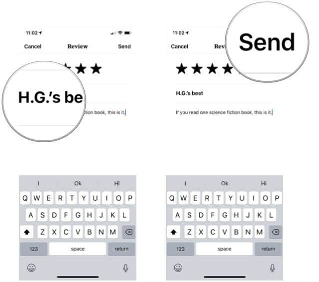 rate and review a book in Apple Books