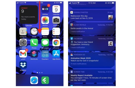 Quickly access Notification Center