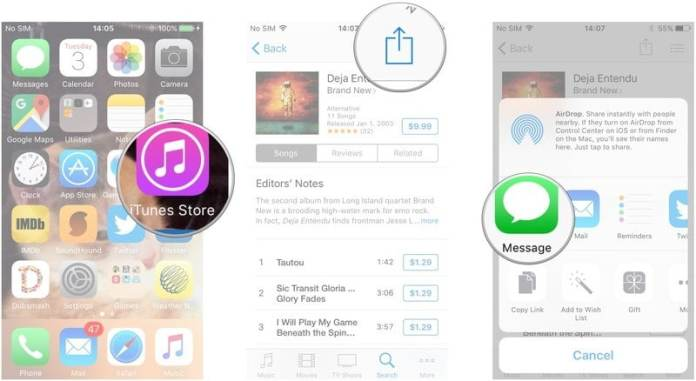 share content on iTunes Store