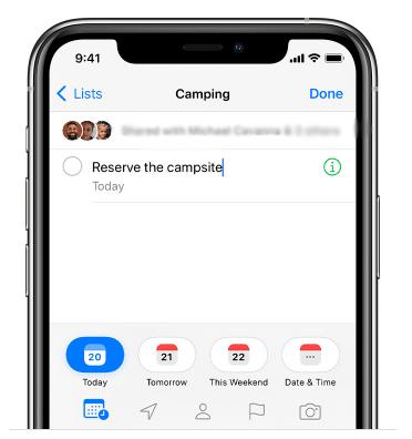 Create tasks in Reminders App on iPhone