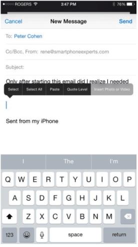 iOS keyboard shortcuts