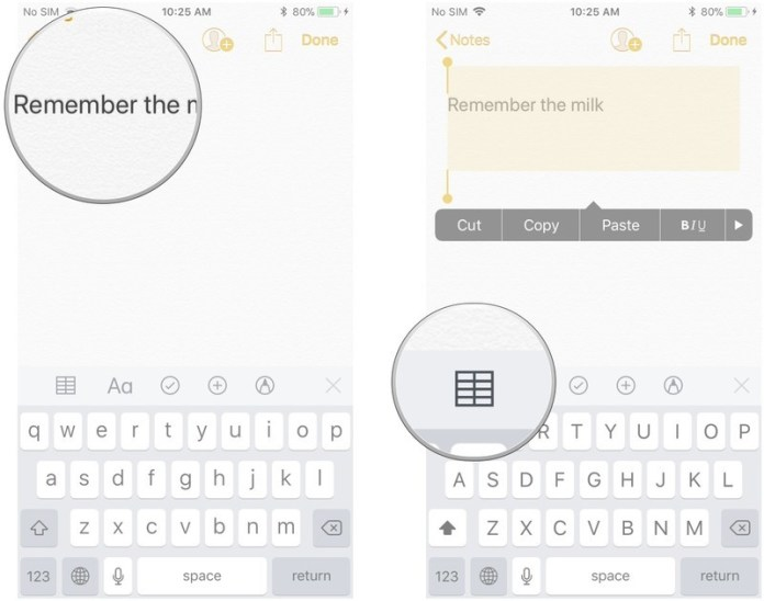 Tables in Notes in iOS 11