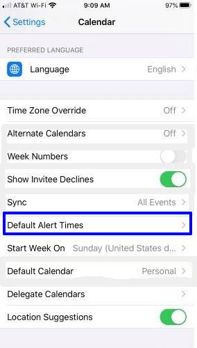 Set default alert times