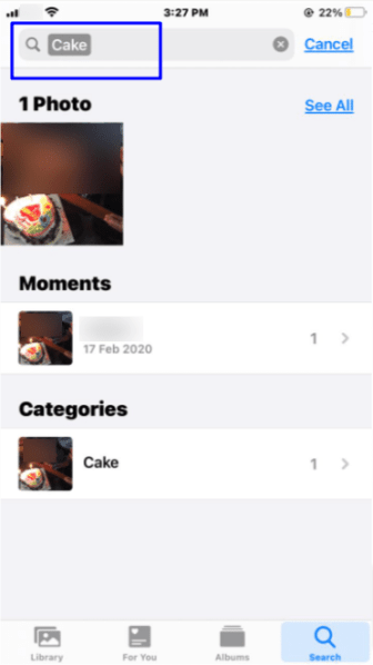 Search photos iPhone