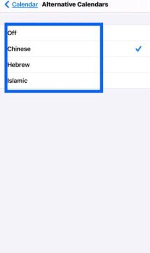 Select an alternate calendar type