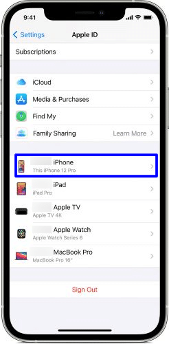 View registered devices for your iCloud account on iPhone and iPad