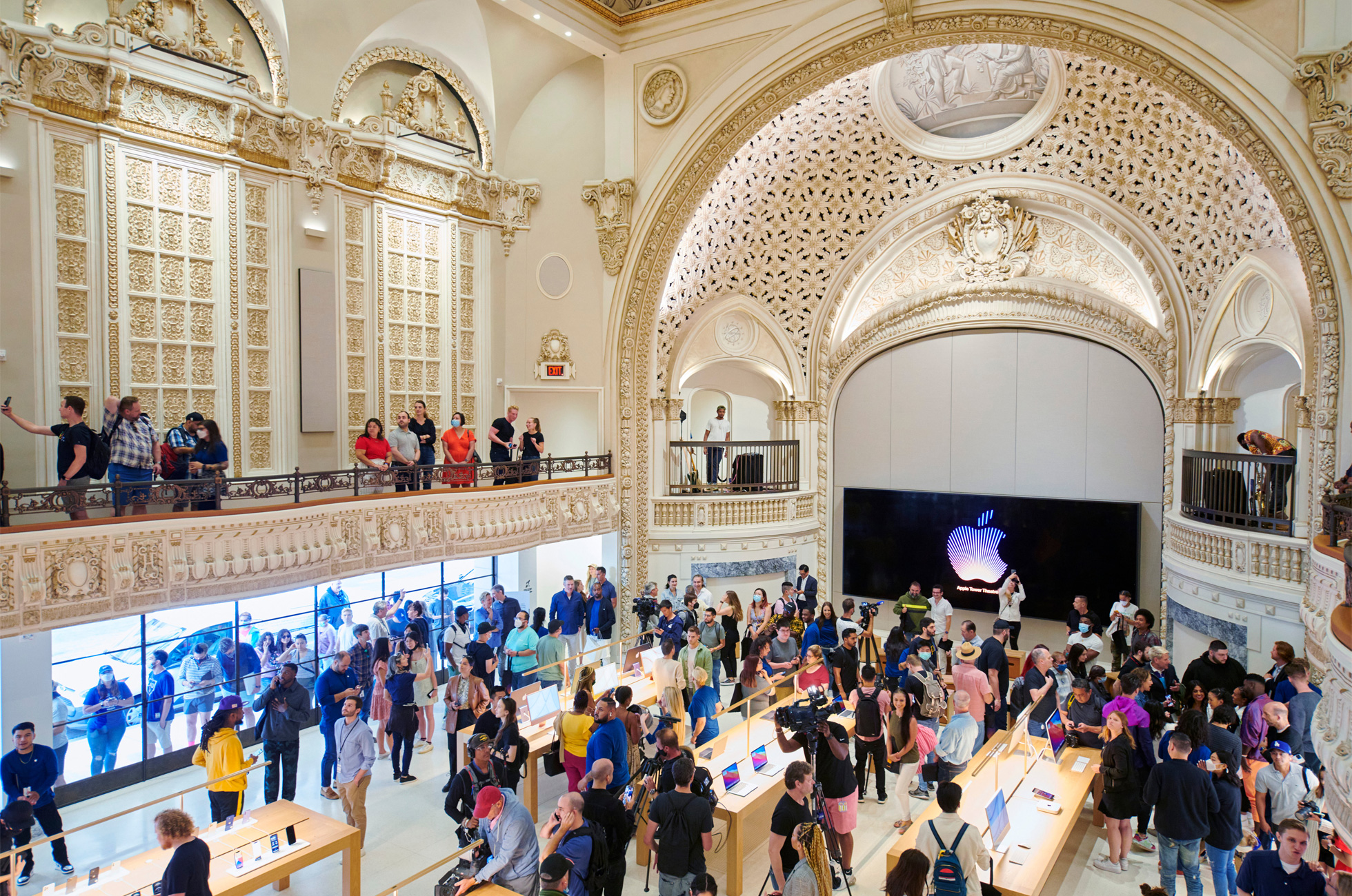 Apple Tower Theatre now open in downtown LA store interior wide shot 062421