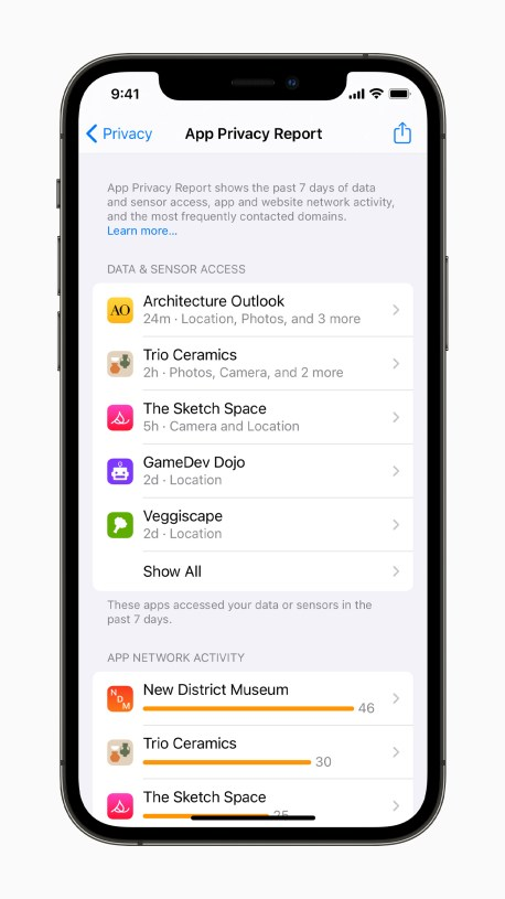 Apple iPhone12Pro iOS15 settings privacy app privacy report 060721