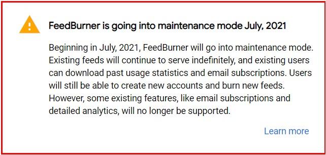 Google FeedBurner Going Into Maintenance Mode