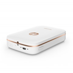 HP Sprocket Photo Printer (White), Top, Right facing, with ports, no output