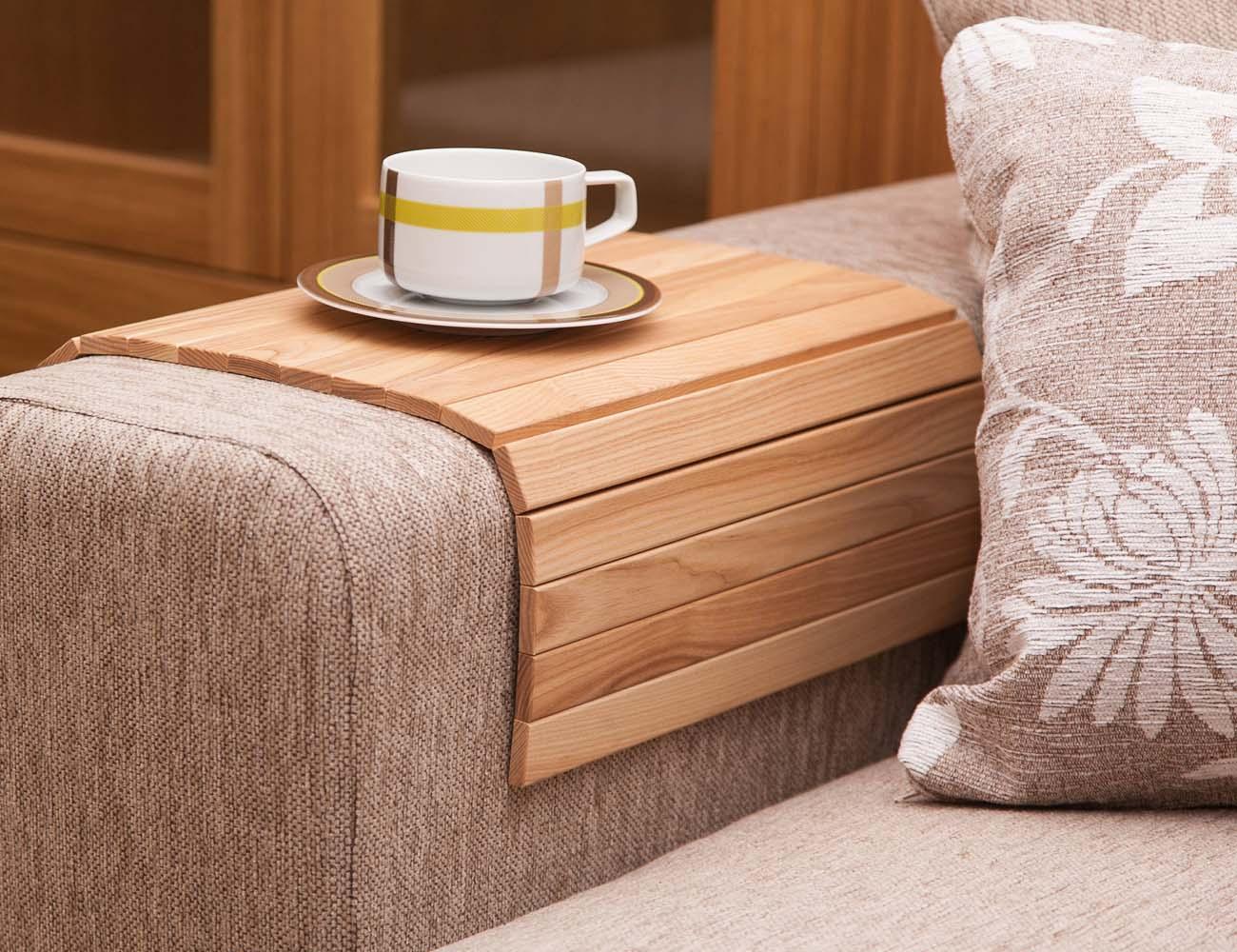 sofa arm rest tray bison cat table slide under