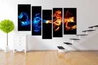 Abstract 5-Piece Smoke Canvas Wall Art  Gadget Flow