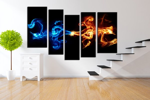Abstract 5Piece Smoke Canvas Wall Art Gadget Flow