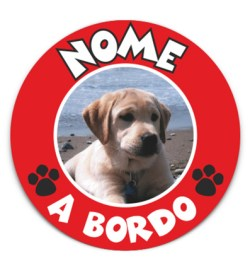 cane a bordo adesivo rosso
