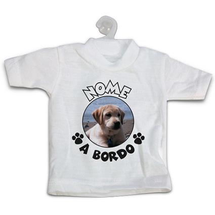 Mini T Shirt Per Auto Personalizzata Con Foto Cane A Bordo