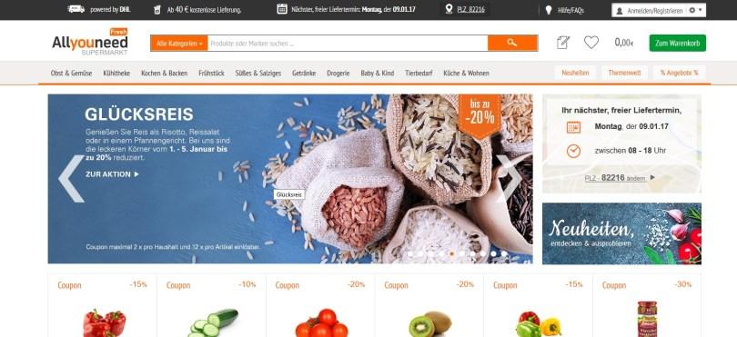 Lebensmittel online von Allyouneed