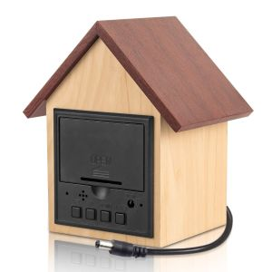 Hut shape wooden LED clock with temperature and sound sensor | Dual power (Battery / USB)