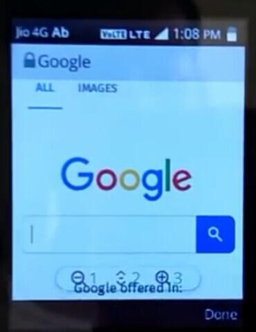 Jio phone internet browser