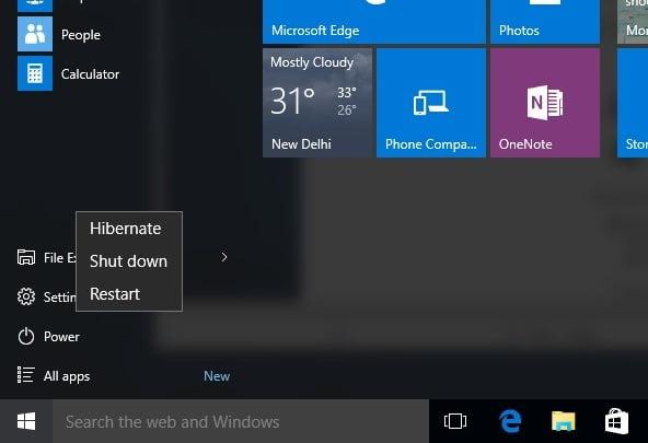 Hibernate mode Windows 10