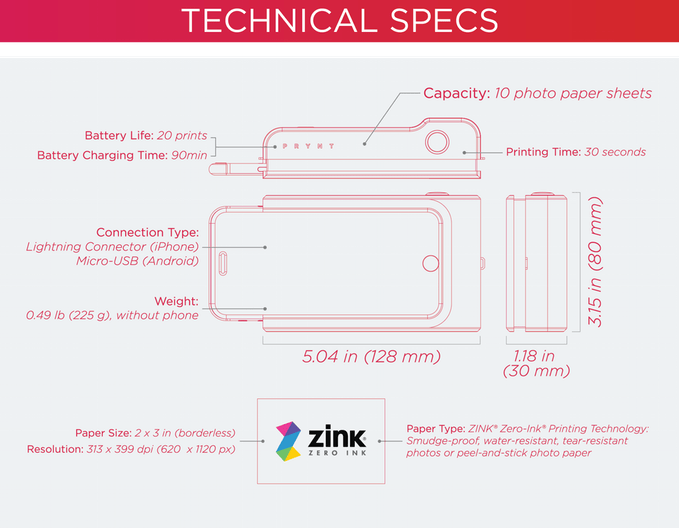 prynt camera technical specification