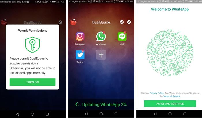 dua Whatsapp dengan dualspace