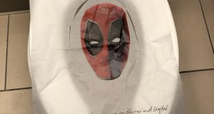 Deadpool's on a Comic-Con toilet seat cover because of course he is