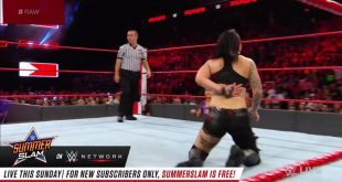 Sasha Banks is taking control of the match on WWE Raw against Ruby Riott!