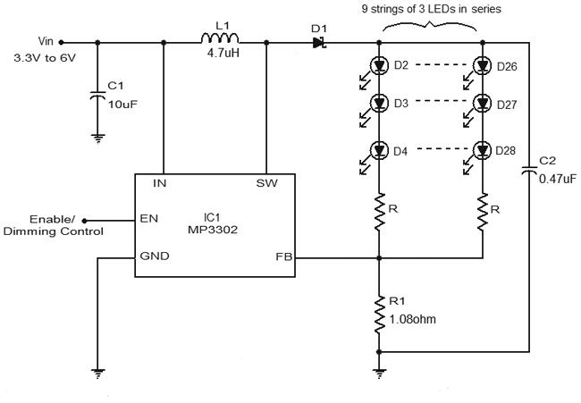 LED Driver Circuit Diagram Using MP3302