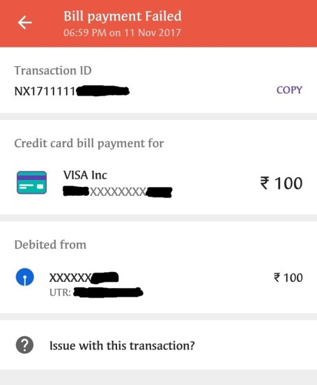 Failed Credit Card Bill Payment Through UPI on PhonePe