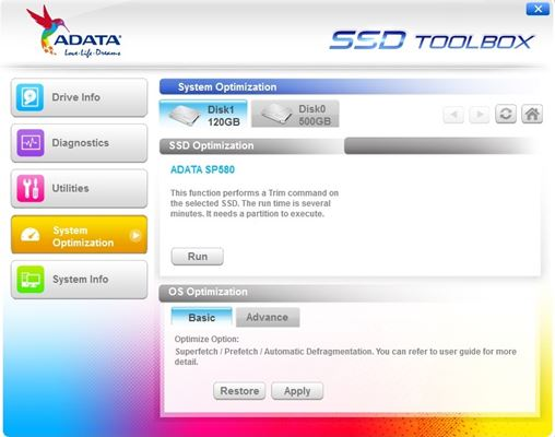 Adata SSD Toolbox System Optimization