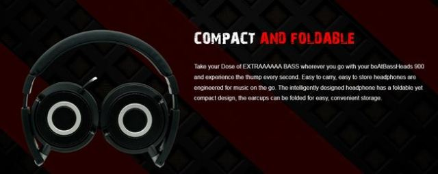 COMPACT AND FOLDABLE Boat BassHeads 900 Wired Headphone with Mic