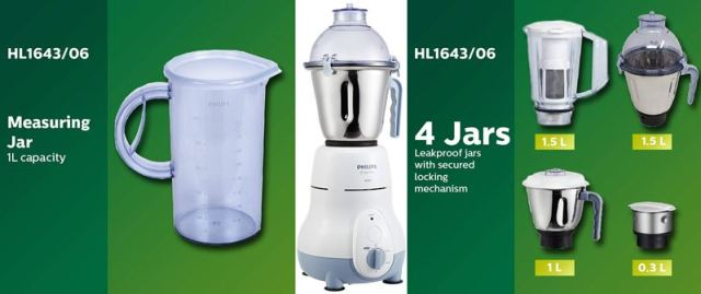 Philips HL1643 Mixer Grinder Juicer Machine with 5 Jar